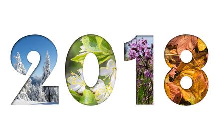 Numero 2018 da quattro stagioni foto per calendario, flyer, poster, cartolina