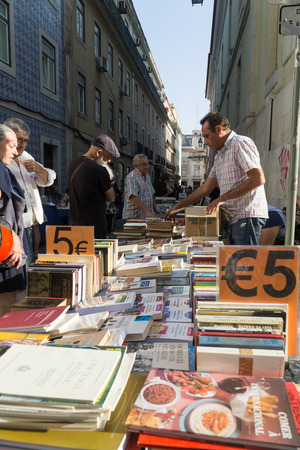 LISBON, PORTUGAL, September 01, 2018: Rua Anchieta weekend book market Chiado district.