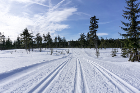 Winter mountain landscape with groomed ski track and blue sky in sunny day. Jizera Mountains, surroundings of Jakuszyce, Poland.