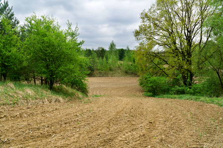Rural spring landscape in Poland. Freshly plowed field, furrows, green leaves in the trees, forest in the background, cloudy sky.