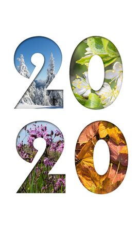 Number 2020 from four seasons photos for calendar, flyer, poster, postcard, banner. Vertical image. Foto de archivo - 129952055
