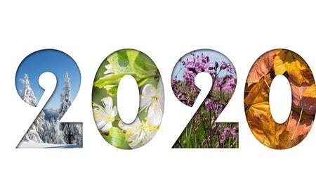 Nummer 2020 von vier Jahreszeiten-Fotos für Kalender, Flyer, Poster, Postkarten, Banner Horizontales Bild.