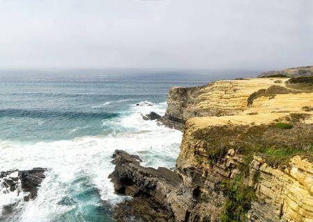Rota Vincentina. Cliffs on Vicentine Coast near Zambujeira do Mar beach and  Alentejo Natural Park in Portugal.