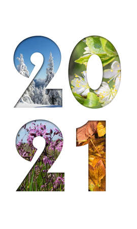 Number 2021 from four seasons photos for calendar, flyer, poster, postcard, banner. Vertical image. Reklamní fotografie