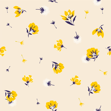 Trendy Seamless yellow Floral Pattern In Vector light beige background