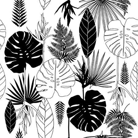 Summer black and white tropical palm tree leaves seamless pattern. Vector design for cards, web, backgrounds and natural product.