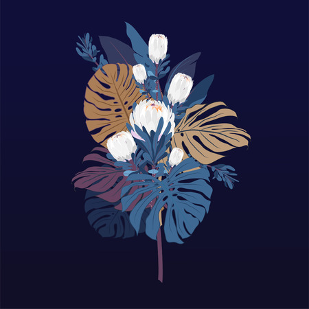 Bouquet with protea flowers , tropical leaves, and floral elements on navy background. Hand drawn with summer garden and wild flowers. design frame with vector botanical elements.