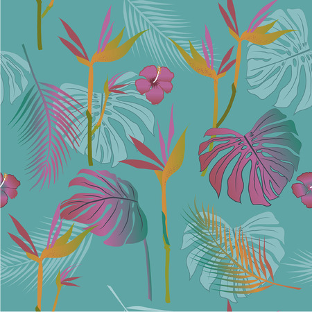 Vector seamless pattern of tropical flowers, leaves,  South America, Central Africa, Southeast Asia and Australia. Monsoon forests, Mangroves.For textiles  イラスト・ベクター素材