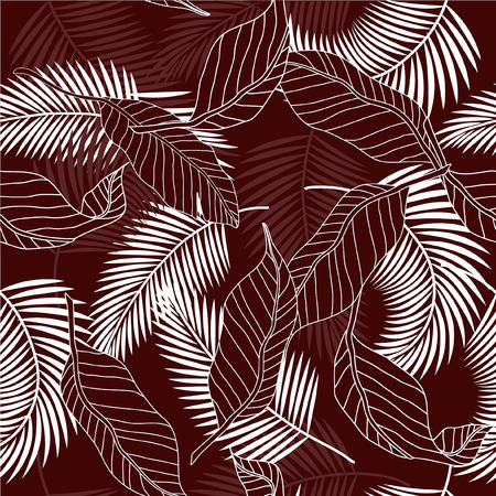 Summer bergundy color and white tropical palm tree leaves seamless pattern. Vector design for cards, web, backgrounds and natural product.