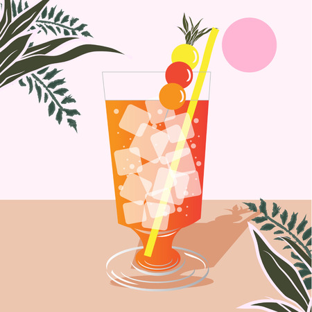 Summer Cocktail Party Poster. Hand drawn illustration of cocktail. Illustration