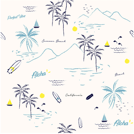 Beautiful seamless island pattern on white background. Landscape with palm trees,beach and ocean vector hand drawn style. 向量圖像