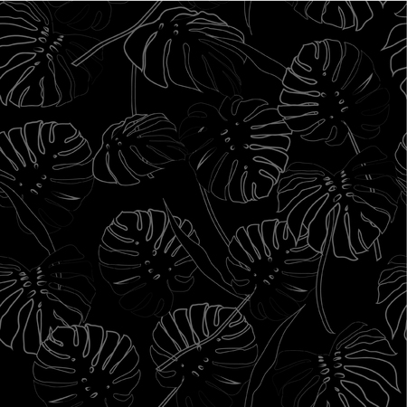 White outline palm leaves on the light black background. Vector seamless pattern. Tropical illustration. Jungle foliage.