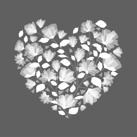 Heart made from, Flowers Clip art, in monotone grey wedding,heart, bouquets, valentines, floral, spring, card, clip art, Hand drawn, illustration, wreath