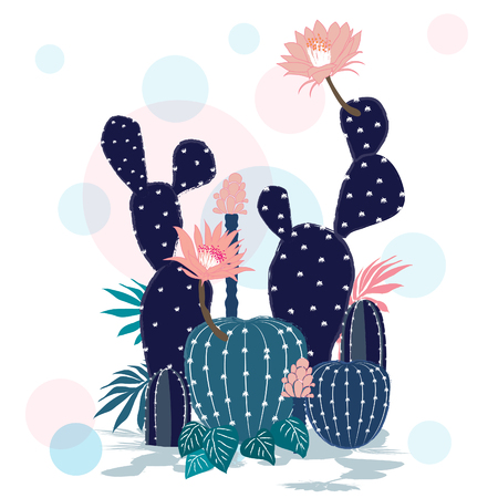 Beautiful  Cactus collection. Sketchy style illustration. Succulent set. Vector illustration in white background. Ilustracja