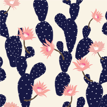 Navy blue Hand drawn cactus tropical garden seamless pattern, in light pink background. Ilustracja