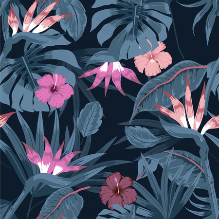 Vector seamless beautiful artistic bright tropical pattern with exotic forest. Colorful original stylish floral background print, bright colors on dark color.