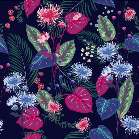 Trendy Blumenmuster in den vielen Arten von Blumen. Zufällige tropische botanische Motive. Nahtlose vektorbeschaffenheit. Mit in der Hand gezeichneter Art, Marineblauhintergrund drucken.