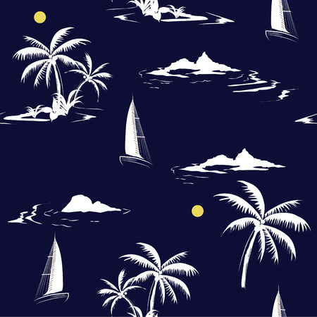 Beautiful seamless white island pattern on navy blue  background. Landscape with palm trees, beach and ocean vector hand drawn style. Çizim