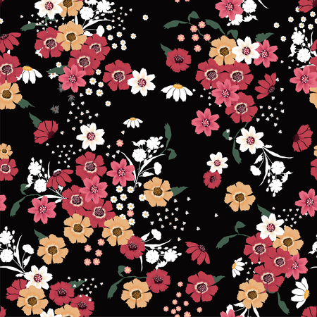 Seamless Pattern wind blow blooming flowers, Isolated on black color. Botanical Floral Decoration Texture. Vintage Style Design for Fabric Print, Wallpaper Background. Vettoriali