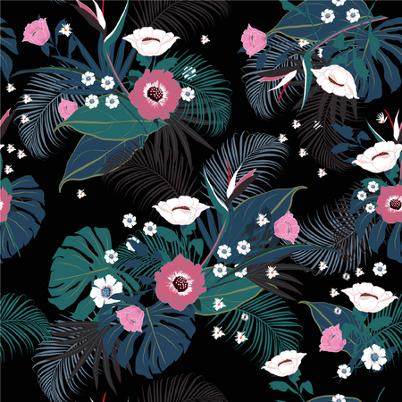 vector seamless beautiful artistic darkt tropical pattern with exotic forest. Colorful original stylish floral background print, bright rainbow flower on black. Illustration