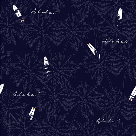 Beautiful seamless floral and surf pattern background. Palm trees on navy blue.