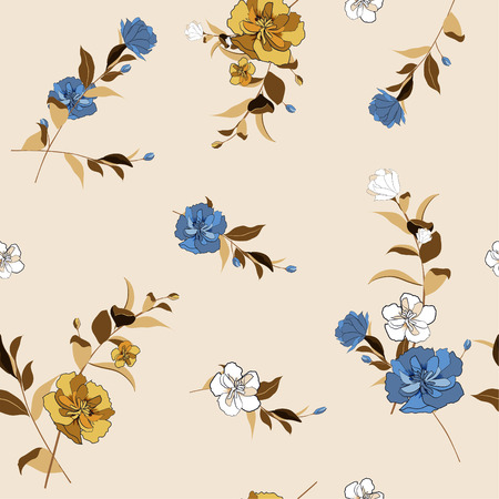 Trendy  Floral pattern in the many kind of flowers. Tropical botanical  Motifs scattered random. Seamless vector texture. Printing with in hand drawn style in light beige background.