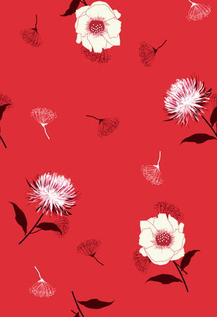 Beautiful Floral pattern in the many kind of flowers. Dark botanical  Motifs scattered random. Seamless vector texture. Printing with in hand drawn stylein red background.