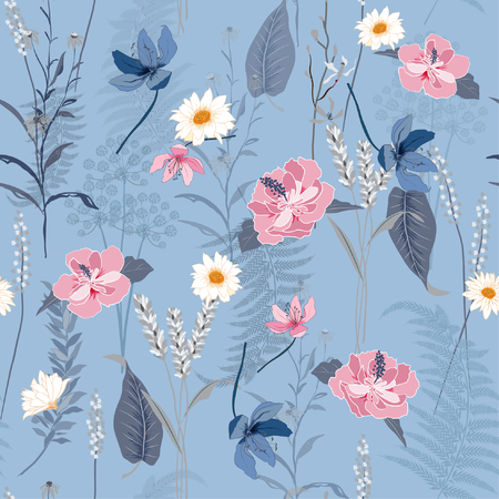 Beatiful seamless botanical flowers pattern with different plants. Repeated natural background with meadow and medical plants on light blue  background. Illustration