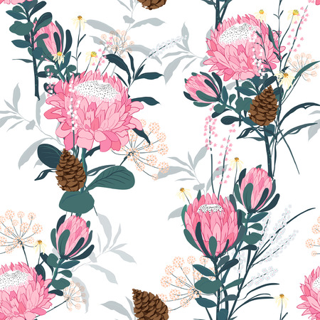 Seamless pattern with protea and many different flowers, leaves and spiral eucalyptus. Decorative holiday floral background.