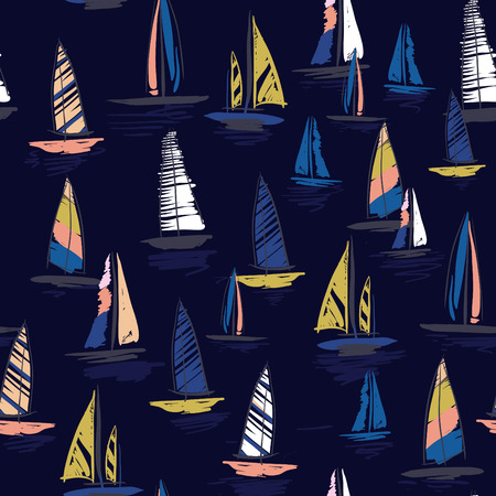 Beautiful Hand drawing colorful wind surf seamless pattern in vector. Flat style illustration. Summer beach surfing illustration in the ocean on navy background.