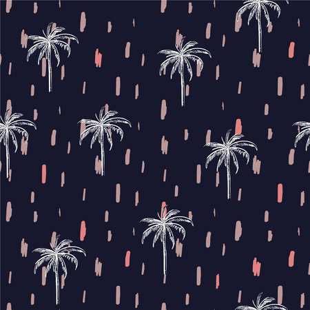 Beautiful seamless island with paint stroke pattern on navy blue background. Landscape with palm trees,beach and ocean vector hand drawn style. Çizim