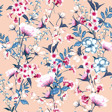 Trendy  Floral pattern in the many kind of flowers. Botanical  Motifs scattered random. Seamless vector texture. Elegant template for fashion prints. Printing with in hand drawn style on pink background.