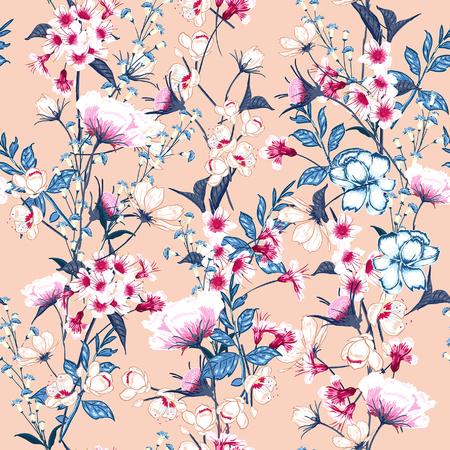 Estampado de flores de moda en los muchos tipos de flores. Motivos botánicos dispersos al azar. Textura inconsútil del vector Elegante plantilla para estampados de moda. Impresión con estilo dibujado a mano sobre fondo rosa.