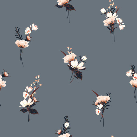 Trendy  Floral pattern in the many kind of flowers. Botanical  Motifs scattered random. Seamless vector texture  for fashion prints. Printing with in hand drawn style on grey color  background. 일러스트