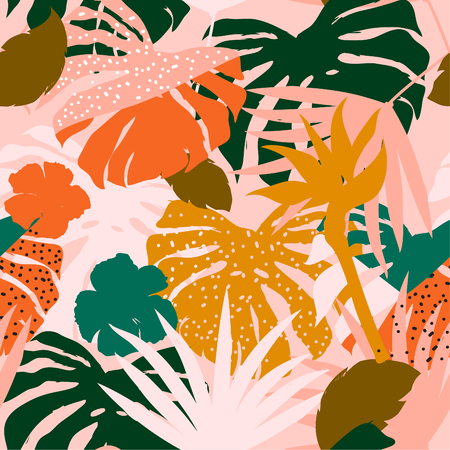 vector seamless beautiful artistic colorful silhouette tropical pattern with exotic forest. Multicolor leaves original stylish floral background print, bright flower on pink Vettoriali