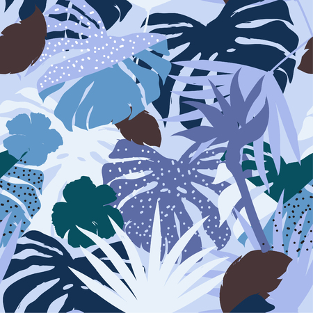 vector seamless beautiful artistic monotone blue silhouette tropical pattern with exotic forest. Multicolor leaves original stylish floral background print, bright flower on blue.