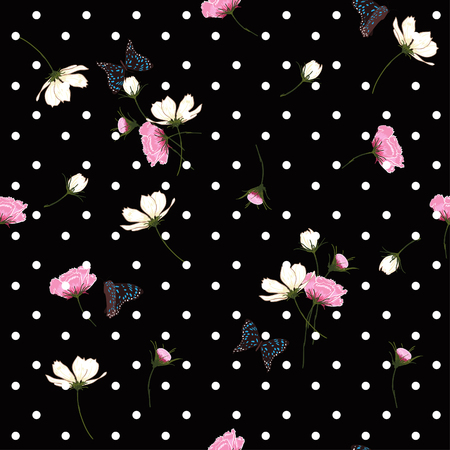 Blooming wild flowers seamless pattern with wihite  polka dots on black background in hand drawing style. Illusztráció