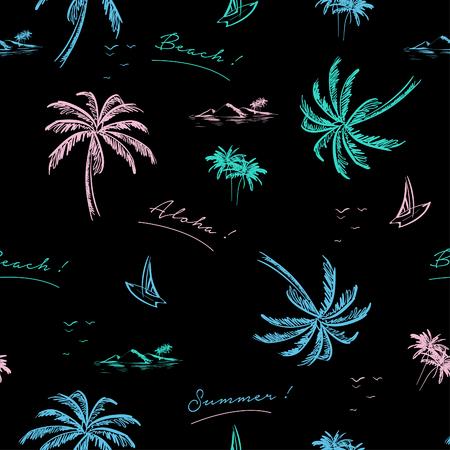 Mooi naadloos eilandpatroon op zwarte achtergrond. Landschap met kleurrijke neon kleuren palmbomen, strand en oceaan vector hand getrokken stijl.