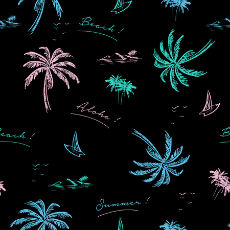 Motif magnifique île sans soudure sur fond noir. Paysage avec palmiers de couleur néon coloré, plage et océan vecteur style dessiné à la main.