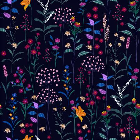 Trendy wildes Blumenmuster in den vielen Arten von Blumen. Dunkle botanische Motive verstreut zufällig. Nahtlose vektorbeschaffenheit. Elegante Vorlage für Modedrucke. Drucken mit in der Hand gezeichneter Art auf Marineblauhintergrund. Vektorgrafik