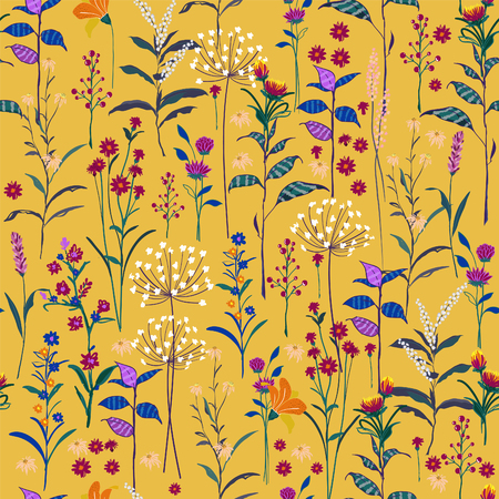 Trendy  wild Floral pattern in the many kind of flowers. Colorful botanical  Motifs scattered random. Seamless vector texture. Elegant template for fashion prints. Printing with in hand drawn style on vivid yellow  background. 矢量图像