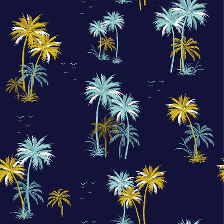 Beautiful seamless island and ocean pattern on navy background. Landscape with palm trees,beach and ocean vector hand drawn style.