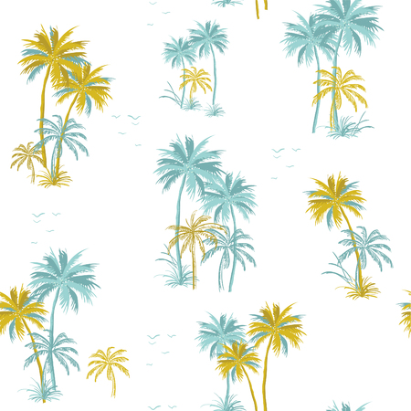 Summer Beautiful seamless island pattern on white background. Landscape with palm trees,beach and ocean vector hand drawn style.