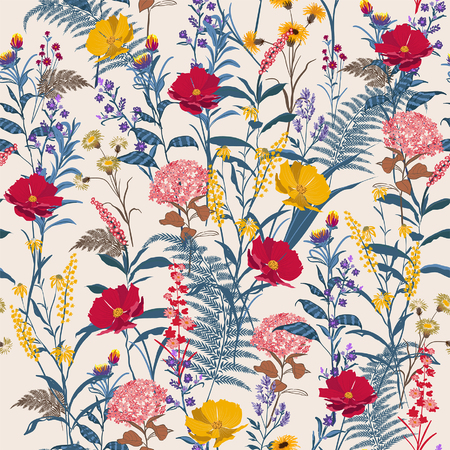 Trendy bright Floral pattern in the many kind of flowers. Botanical Motifs scattered random. Seamless vector texture. For fashion prints. Printing in hand drawn style light beige background.