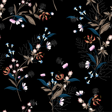 Trendy dark Floral pattern in the many kind of flowers. Botanical Motifs scattered random. Seamless vector texture. for fashion prints. Printing with in hand drawn style on black background.