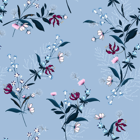 Beautiful floral pattern in the many kind of flowers. Botanical motifs scattered random. Seamless vector texture for fashion prints. Printing with in hand drawn style on sky blue background.