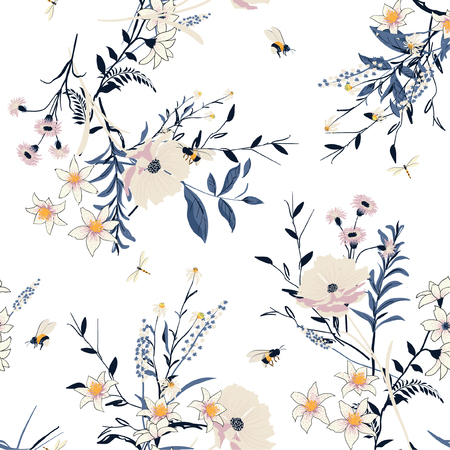 Beautiful Trendy  vector Floral pattern in the many kind of flowers. Botanical  Motifs scattered random. Seamless vector texture. For fashion prints. Printing with in hand drawn style on white background.