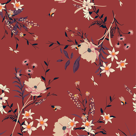Trendy vintage floral seamless pattern over red background.