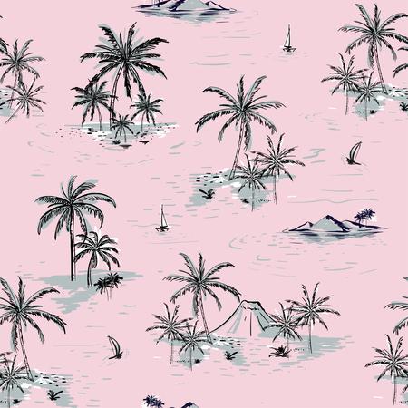 Modelo inconsútil hermoso de la isla en fondo rosado. Ajardine con estilo dibujado mano del vector de las palmeras, de la playa y del océano. Foto de archivo - 92102292