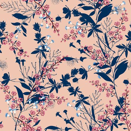 Motif floral à la mode dans les nombreux types de fleurs. Motifs botaniques tropicaux dispersés au hasard. Texture vectorielle continue Pour les imprimés de mode. Impression avec style dessiné à la main sur fond de pêche. Vecteurs